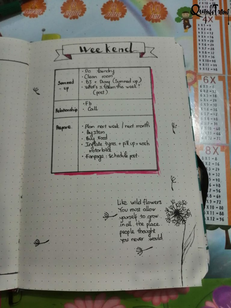 Daily log Bullet Journal (Weekend)