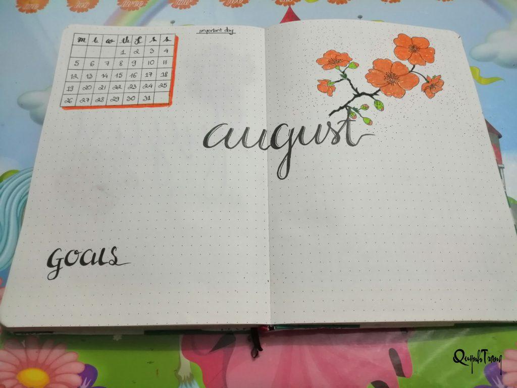 august goal bullet journal