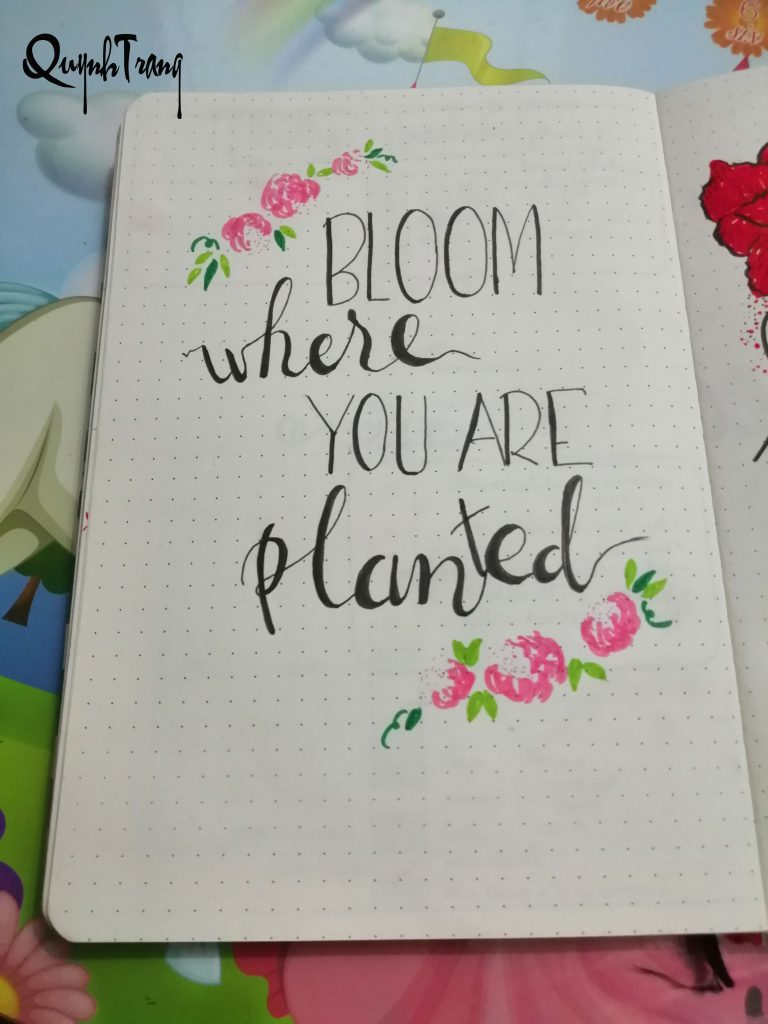flower quote bullet journal