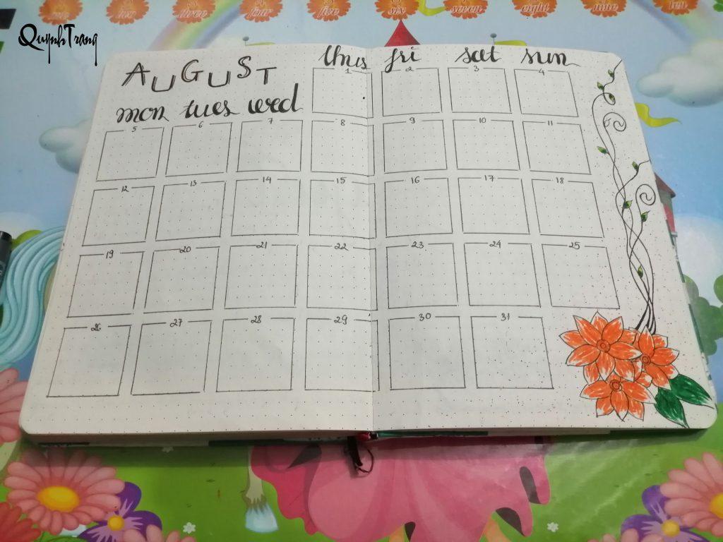 monthly log bullet journal