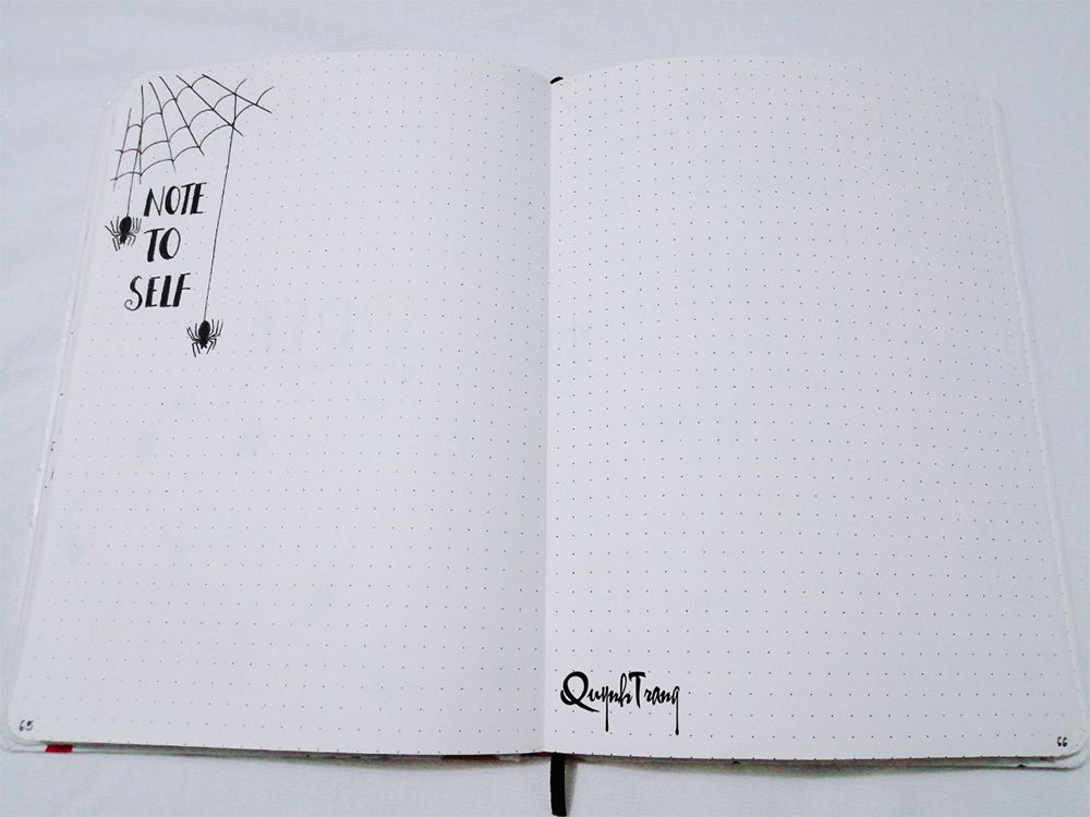 October Bullet Journal Note To Self