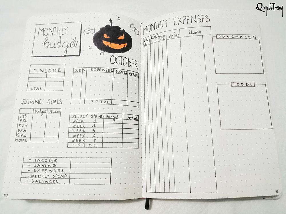 October Bullet Journal Budget Log