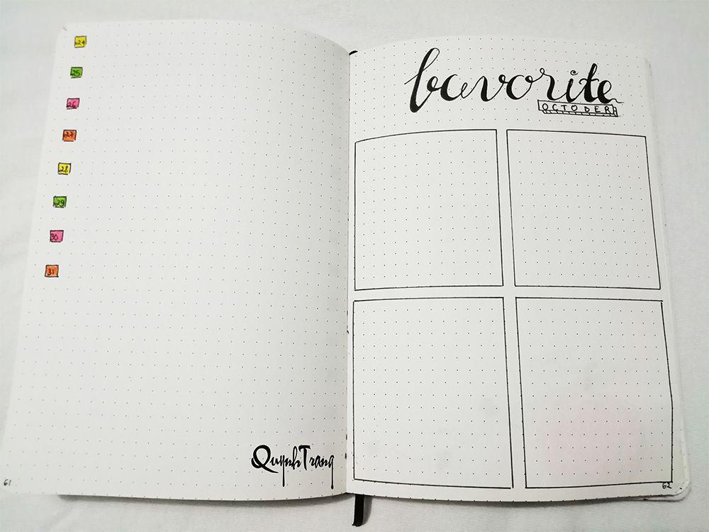 October Bullet Journal Favorite Log
