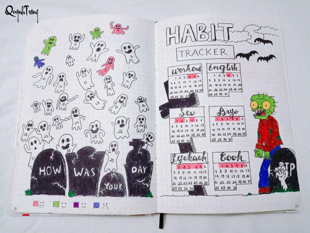 October Bullet Journal Mood + Habit Tracker
