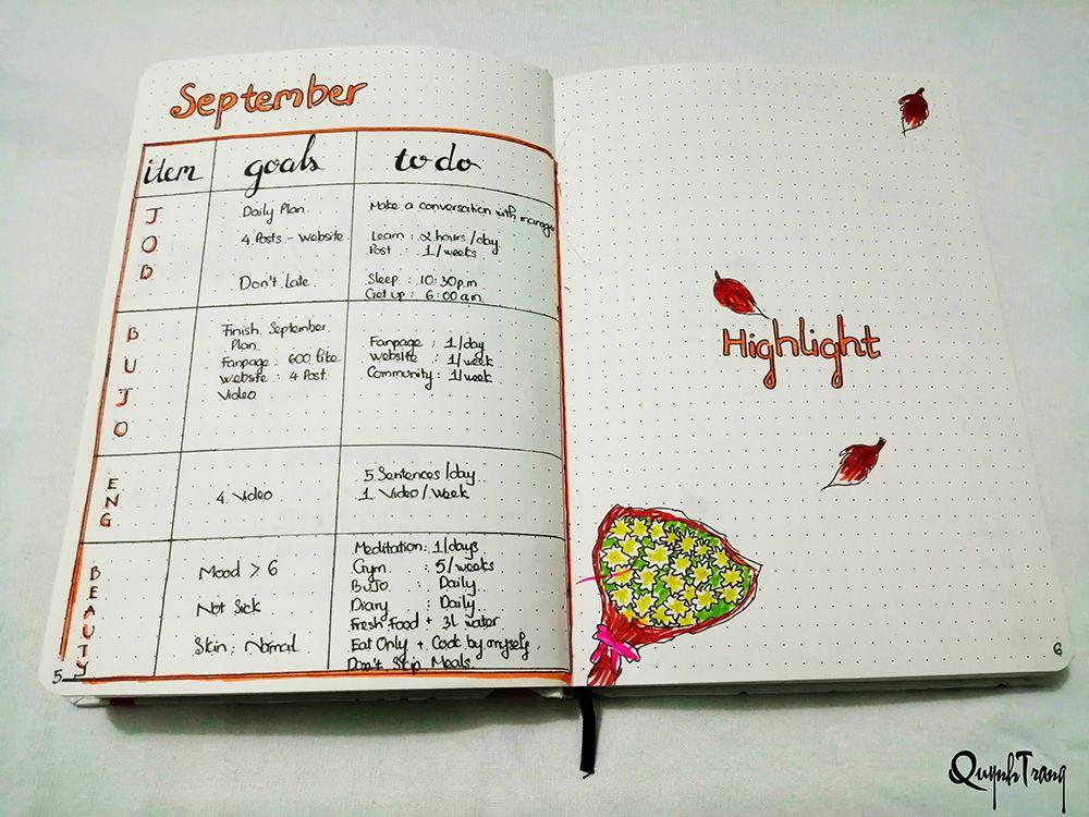 September-Bullet-Journal-Goal-Highlight-log
